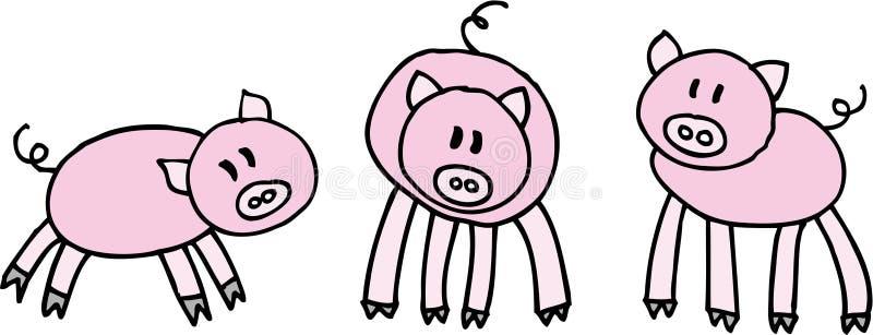 Tres cerdos stock de ilustración