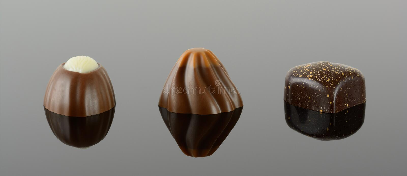 Tres chocolates de lujo fotografía de archivo libre de regalías