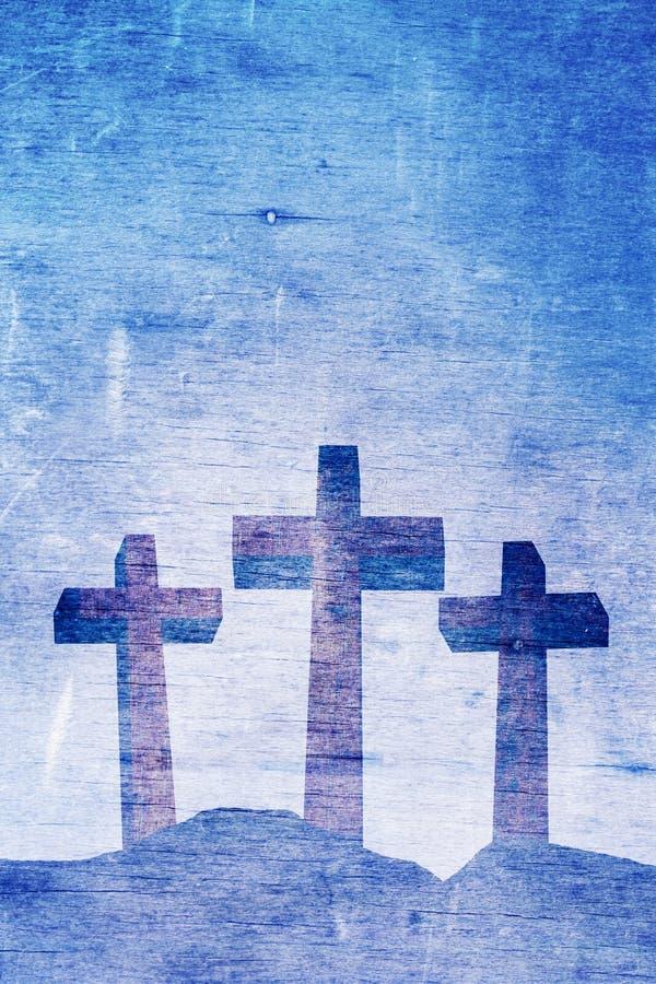Tres Christian Crosses en el ejemplo del fondo del Calvary ilustración del vector
