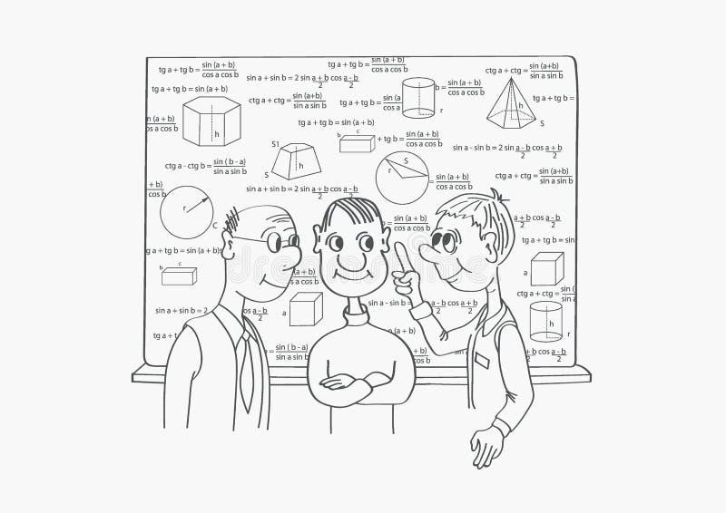 Tres científicos discuten el tema científico stock de ilustración