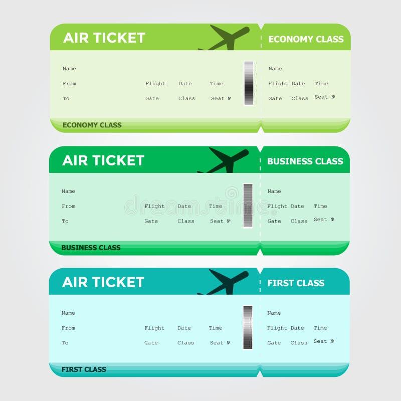 Tres clases de verde en blanco del documento de embarque del vuelo fotografía de archivo libre de regalías