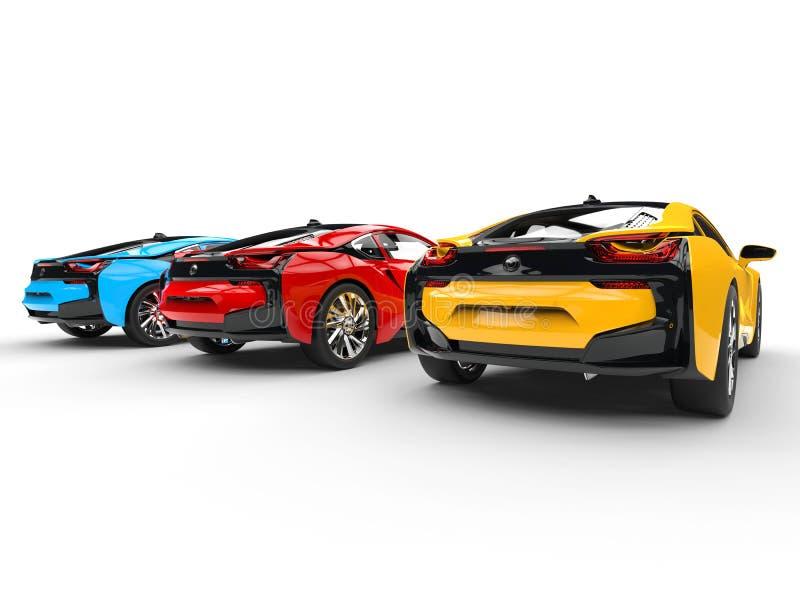 Tres coches de deportes - colores primarios - visión trasera ilustración del vector