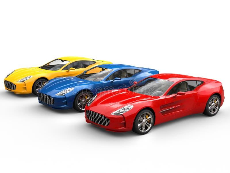 Tres coches de deportes hermosos imagenes de archivo