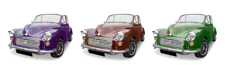 Tres coches de Morris Minor foto de archivo
