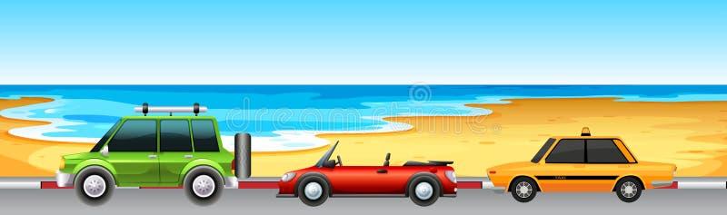 Tres coches que parquean por la playa libre illustration