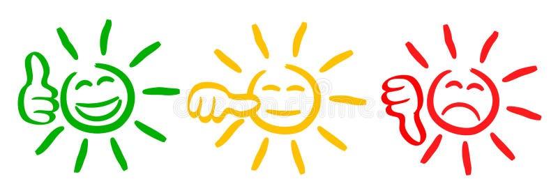 Tres colorearon el sol con los pulgares de la evaluación, smilies, fijaron la emoción sonriente, por los smilies, sol de los emot ilustración del vector