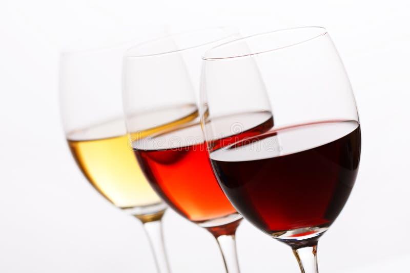 Tres colores del vino foto de archivo