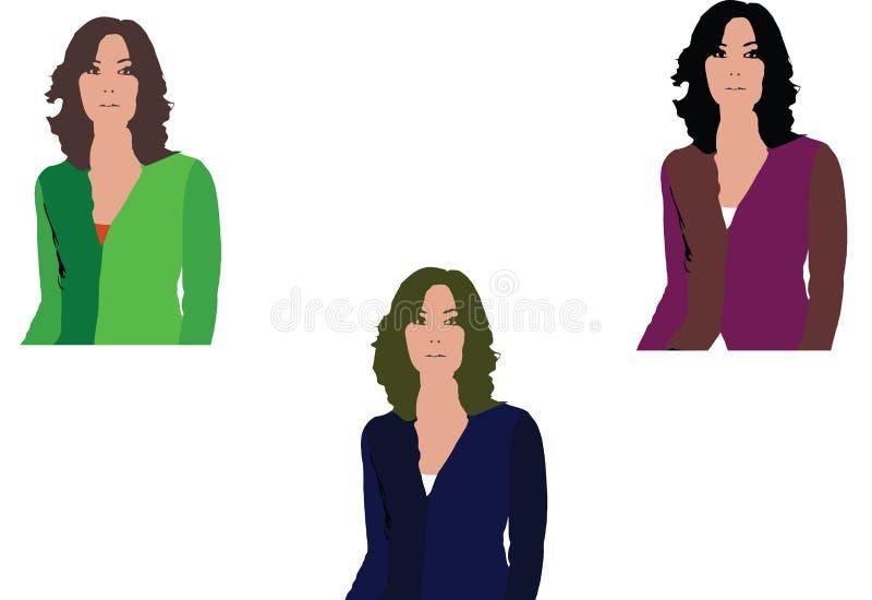 Tres colores diferentemente vestidos mangas de las mujeres ilustración del vector