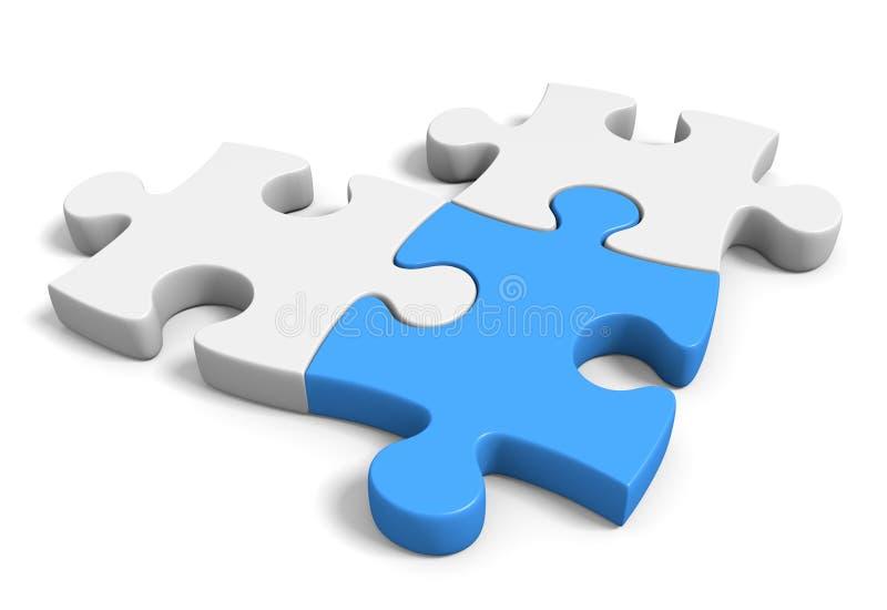 Tres conectaron pedazos del rompecabezas en un fondo blanco, representación 3D ilustración del vector
