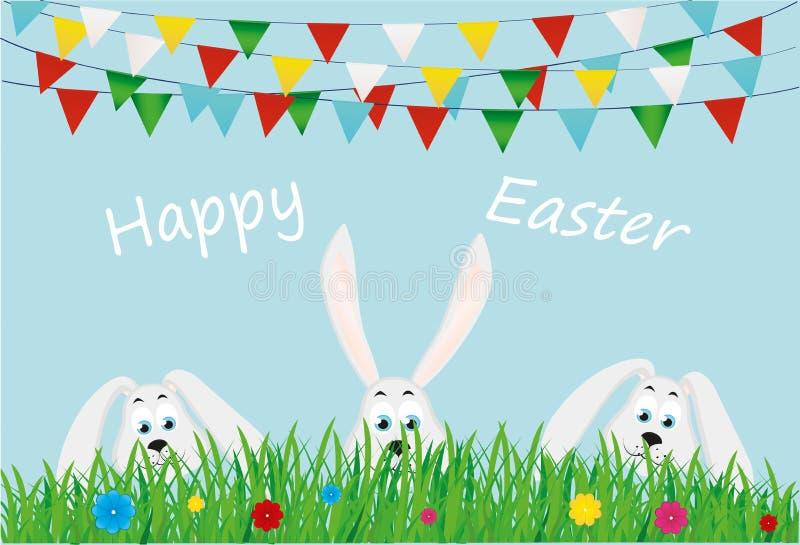 Tres conejitos de pascua se están sentando en la hierba con las flores indicadores ilustración del vector