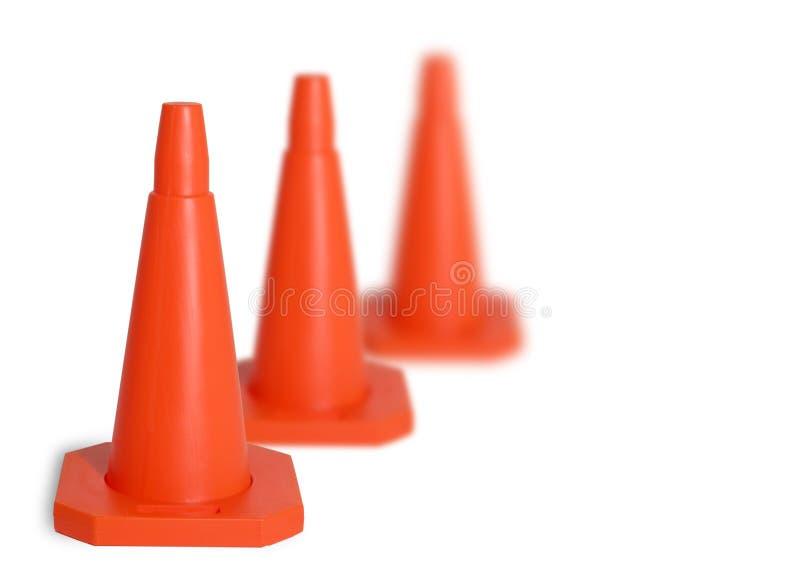 Tres conos del tráfico imagen de archivo libre de regalías