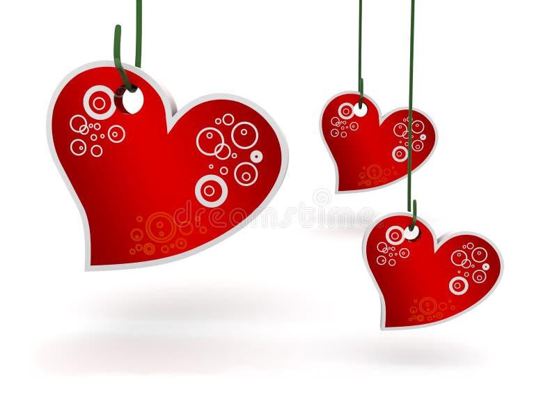 Tres corazones stock de ilustración