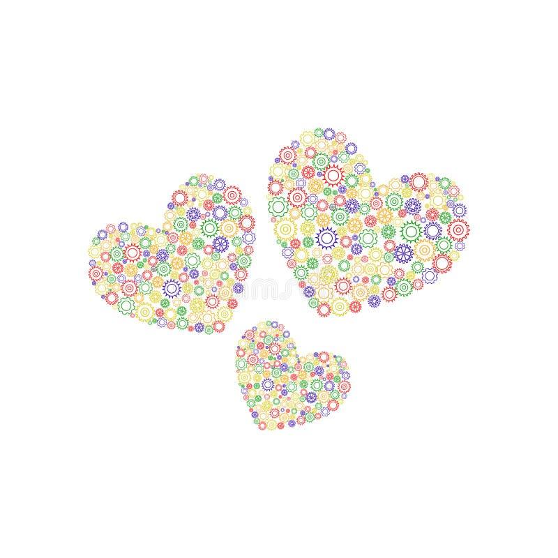 Tres corazones de engranajes ilustración del vector