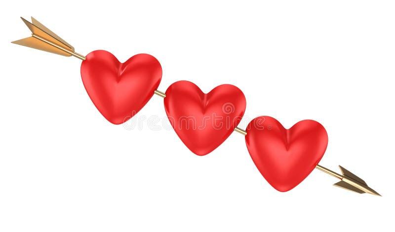 Tres corazones en flecha ilustración del vector