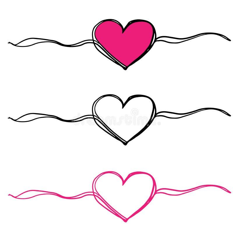 Tres corazones garabatean ilustración del vector