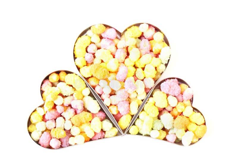 Tres corazones llenados del caramelo fotos de archivo libres de regalías