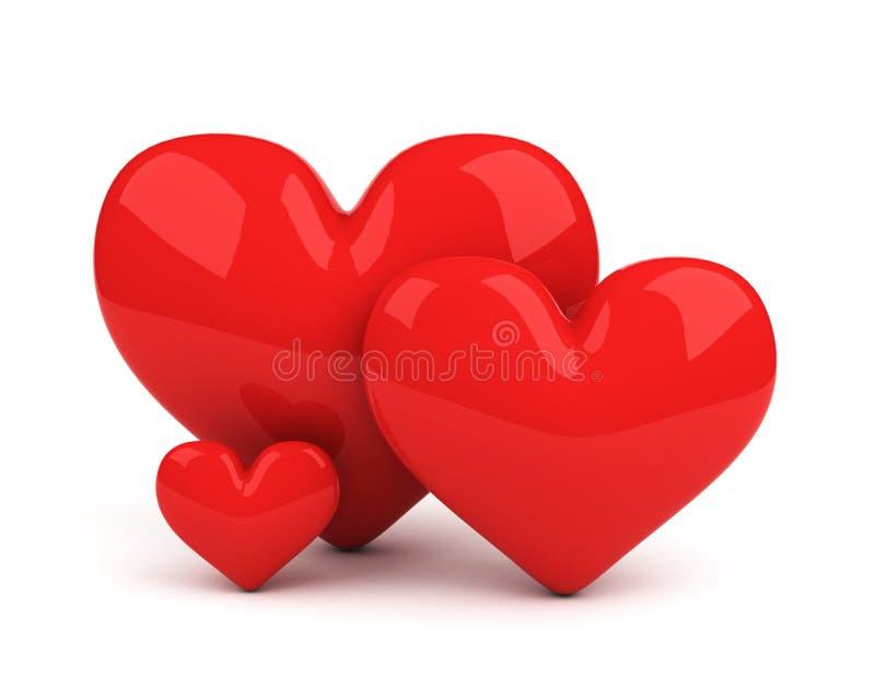 Tres corazones rojos ilustración del vector
