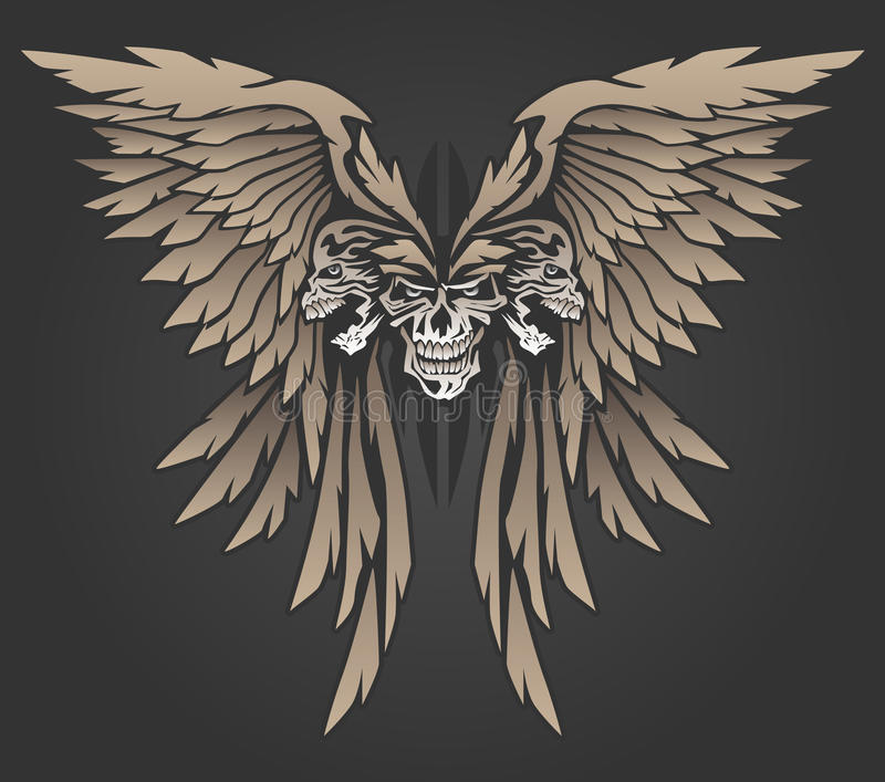Tres cráneos con el ejemplo del vector de las alas libre illustration