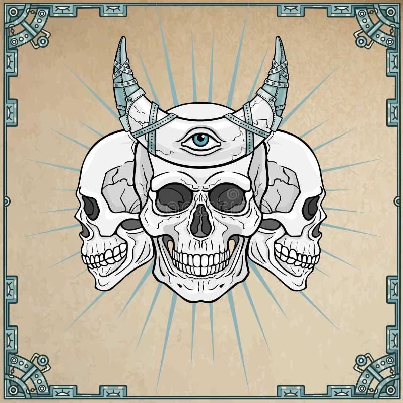Tres cráneos humanos - los chamanes, cuerno mágico stock de ilustración