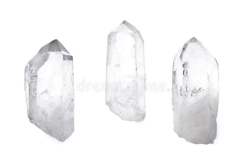Tres cristales de cuarzo fotos de archivo