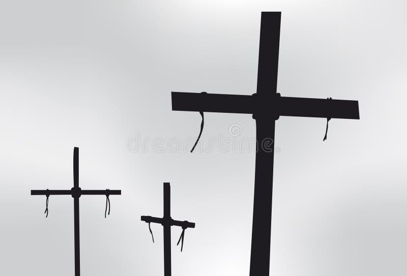 Tres cruces stock de ilustración