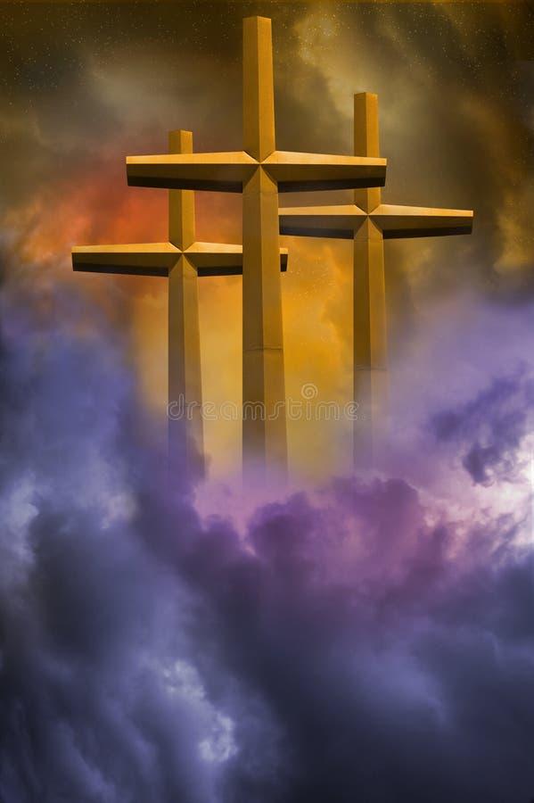 Tres cruces imagen de archivo