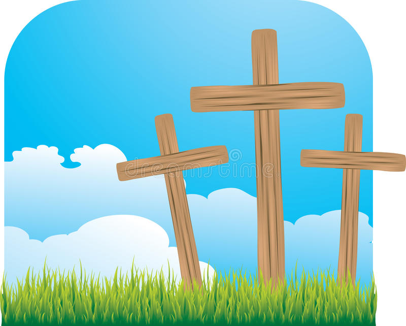 Tres cruces de madera libre illustration