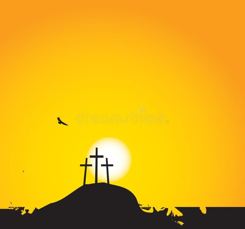 Tres cruces en el Calvary del soporte libre illustration