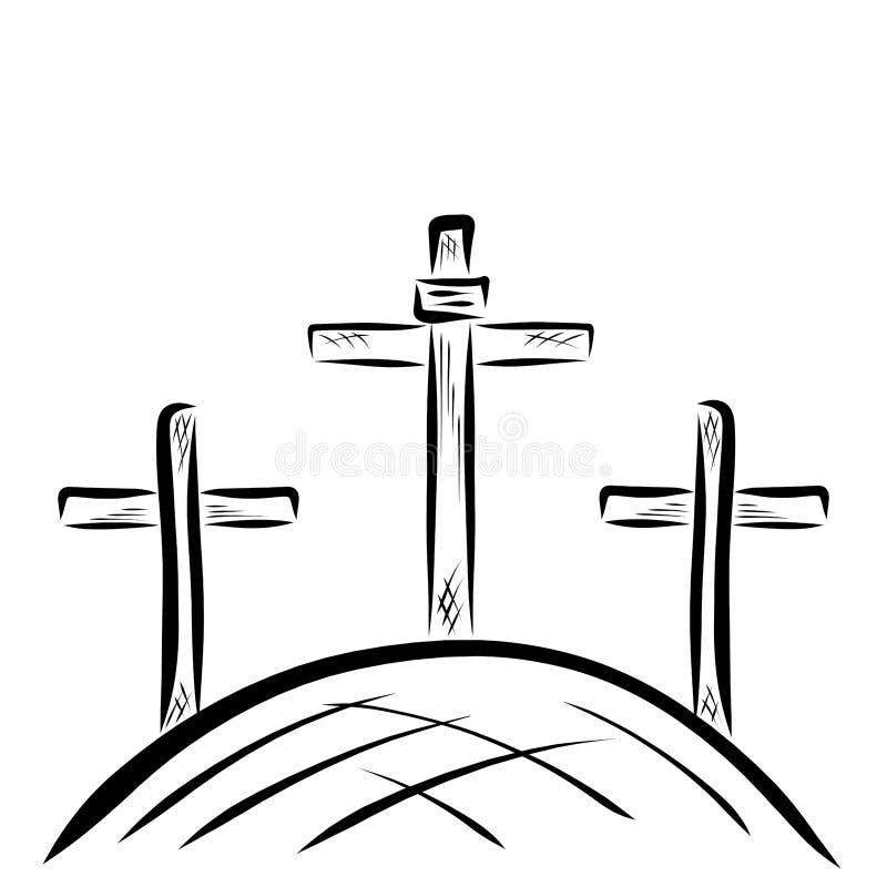 Tres cruces en la colina, Golgotha, dios satisficieron la promesa ilustración del vector