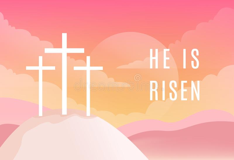 Tres cruces en la montaña de Golgotha Él es muestra de Riseb Christian Easter Vector Illustration stock de ilustración