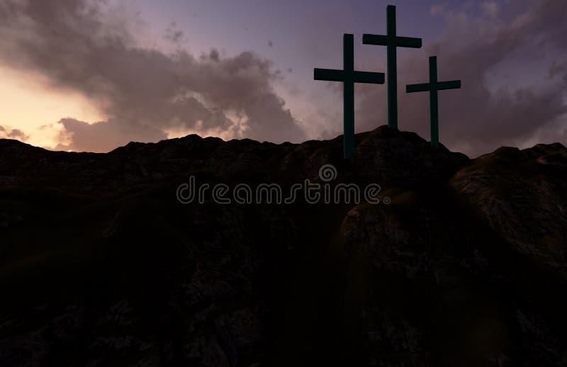 Tres cruces en la puesta del sol ilustración del vector