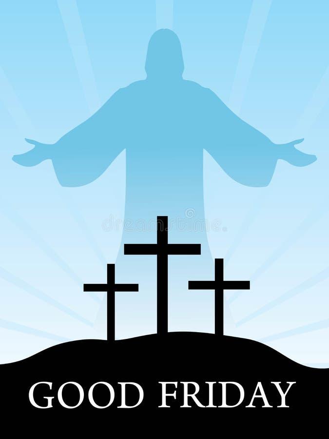 Tres cruces en una colina con Jesús ilustración del vector