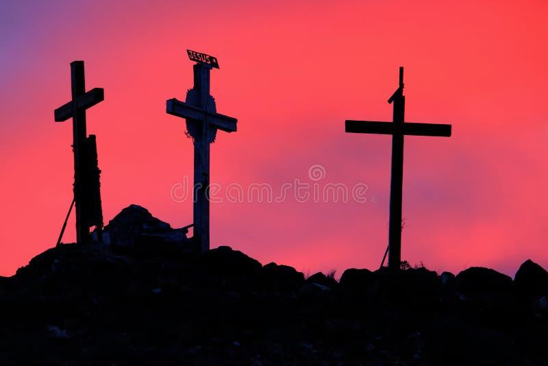 Tres cruces santas en salida del sol fotografía de archivo libre de regalías