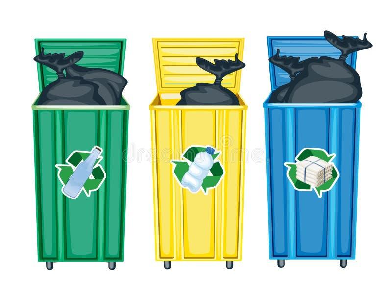Tres cubos de basura stock de ilustración