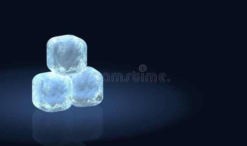 Tres cubos de hielo escarchados stock de ilustración