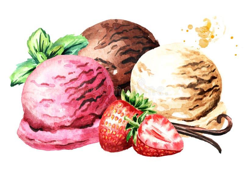 Tres cucharadas de helado de la fresa, de la vainilla y de chocolate con las bayas y la menta Ejemplo dibujado mano de la acuarel ilustración del vector