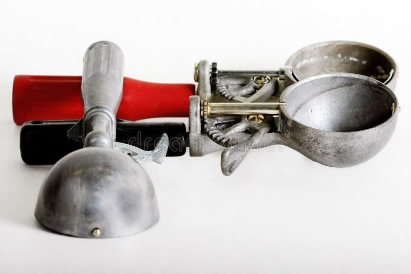 Tres cucharadas del helado de la vendimia imagen de archivo