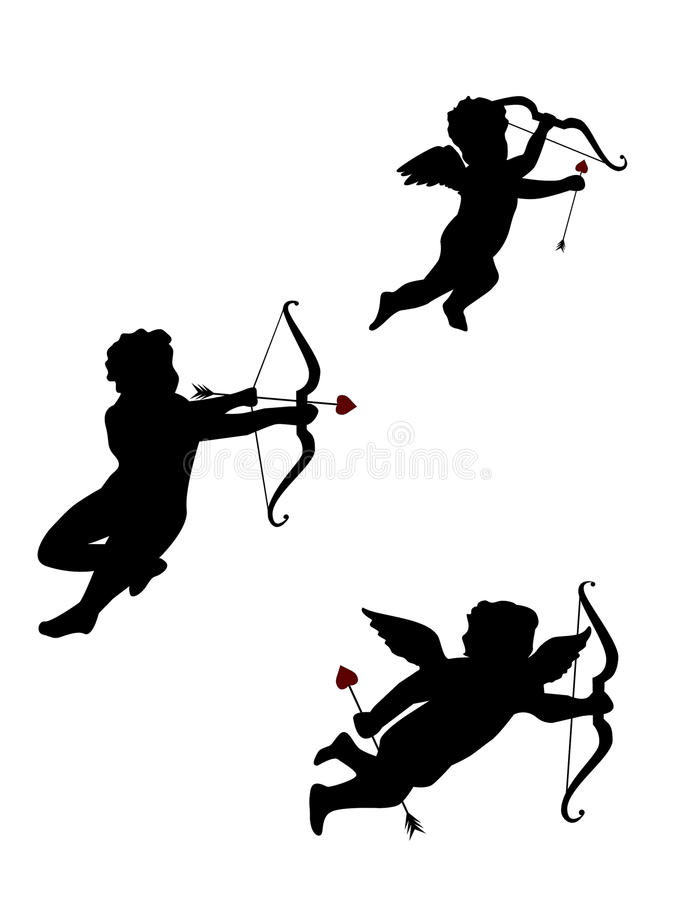 Tres Cupids Aislados Imagen de archivo