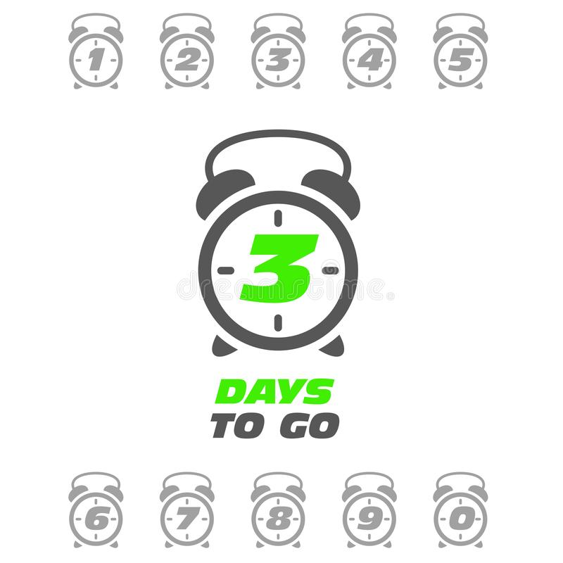 Tres días a ir etiqueta engomada o etiqueta - despertador de sonido de la venta libre illustration