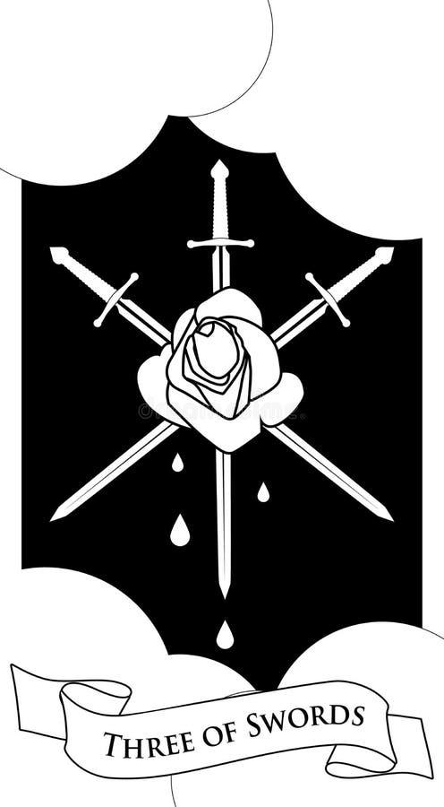 Tres de espadas Rose perforó por tres espadas en fondo de las nubes Gotas de sangre stock de ilustración