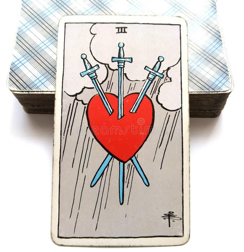 Tres de la angustia de la carta de tarot de las espadas, rasgones, palabras enojadas ilustración del vector