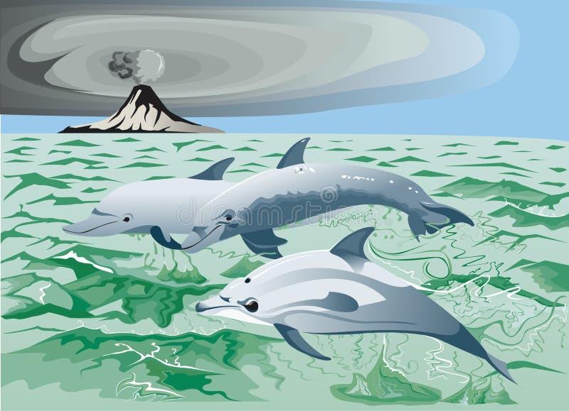 Tres delfínes en el mar libre illustration