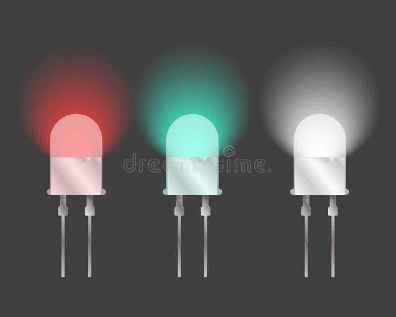 Tres diodos de diversos colores Vector en un fondo gris ilustración del vector
