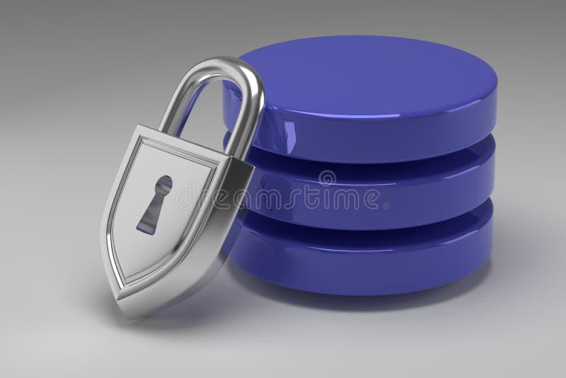 Tres discos azules en pila y candado de acero bloqueado Datos o base de datos bajo protección Concepto de seguridad de datos imagenes de archivo