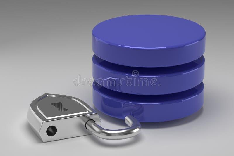 Tres discos azules en pila y candado de acero desbloqueado Acceso concedido a los datos o a la base de datos en el resultado del  imagen de archivo libre de regalías