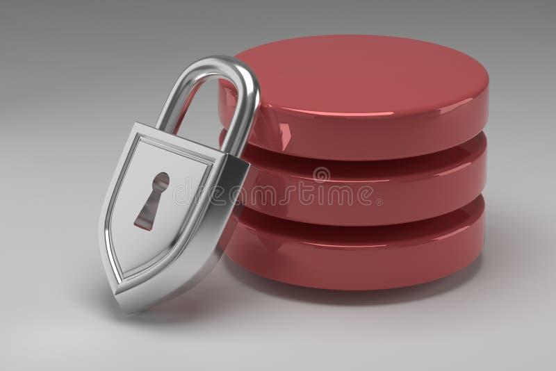 Tres discos rojos en pila y candado de acero bloqueado Datos o base de datos bajo protección Concepto de seguridad de datos fotografía de archivo libre de regalías