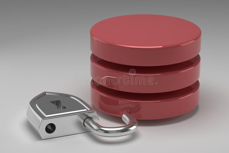 Tres discos rojos en pila y candado de acero desbloqueado Acceso concedido a los datos o a la base de datos en el resultado del a fotos de archivo libres de regalías