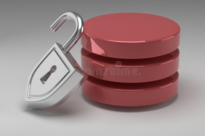 Tres discos rojos en pila y candado de acero desbloqueado Tenga acceso concedido a los datos o a la base de datos Concepto de seg imagen de archivo