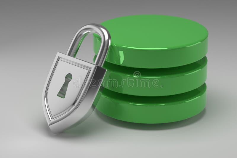 Tres discos verdes en pila y candado de acero bloqueado Datos o base de datos bajo protección Concepto de seguridad de datos fotos de archivo libres de regalías