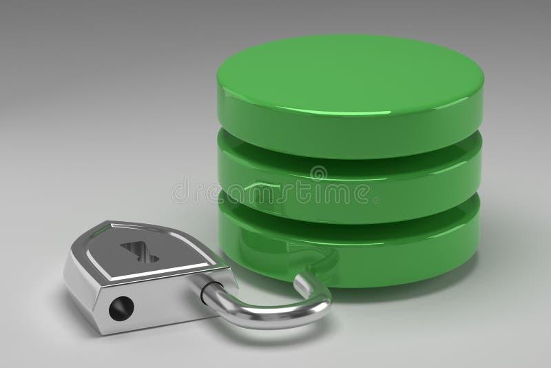 Tres discos verdes en pila y candado de acero desbloqueado Acceso concedido a los datos o a la base de datos en el resultado del  foto de archivo
